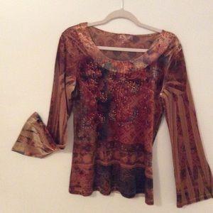Dress Barn Velvet shirt with Bell Sleeves
